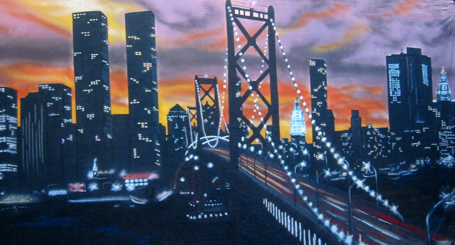 Achterdoek Sky Line New York 10X4 Mtr
